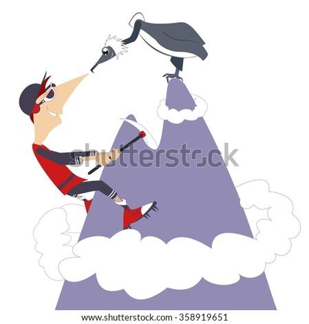Climber. Man climbing the mountain and meeting an eagle  - stock photo