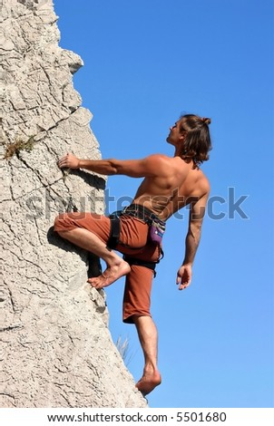 Climber on the wall - stock photo