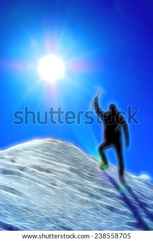 Climber reaching the summit of a mountain. Stylized silhouette with fantasy-painting effect. - stock photo