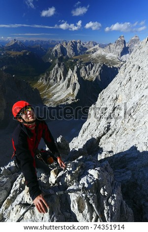 Climber with helmet