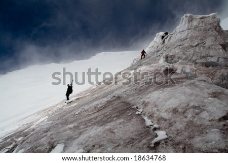 climbers on the descent from Volcano Cotopaxi