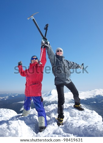 Climbers on top. Active life and sport - stock photo