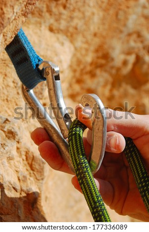 Climbers rope and quick-draws - stock photo