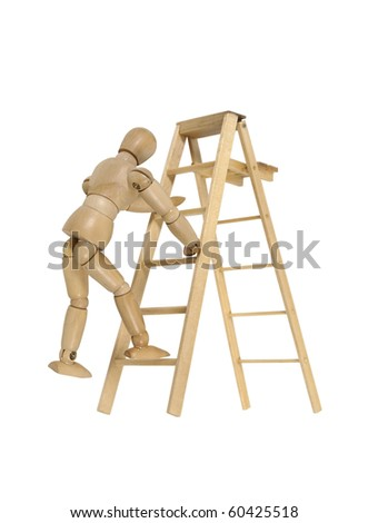 Climbing a ladder used for moving up or reaching higher goals - path included