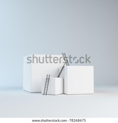 Climbing abstract boxes - progress concept - stock photo