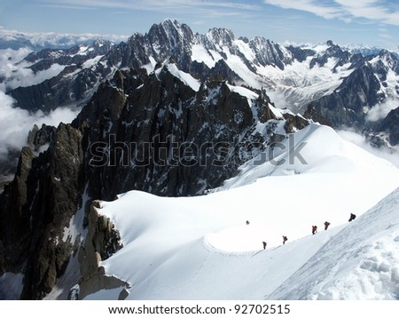 Climbing Alps in France - stock photo