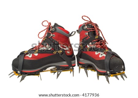 Climbing boots with the crampons