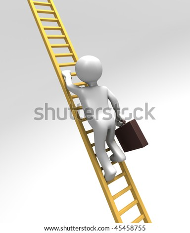 Climbing Corporate Ladder of Success (With Clipping Path) - stock photo