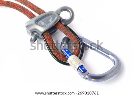 Climbing equipment for safe climbing sportsmen - stock photo
