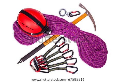 climbing equipment isolated on white background - stock photo