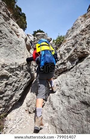 Climbing girl - stock photo