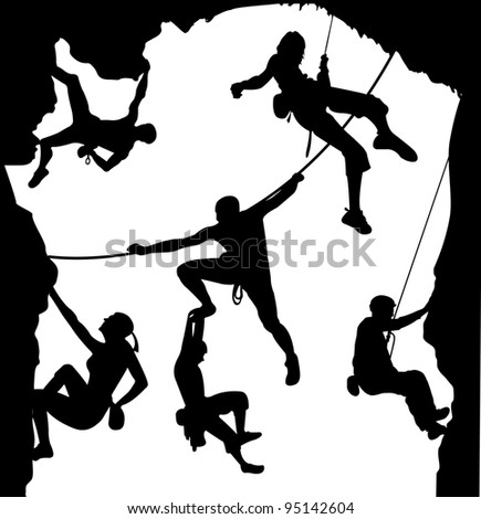 Climbing illustration set on the rock - stock photo
