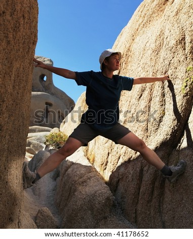 Climbing in the canyon - stock photo