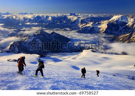 Climbing Mountain Elbrus - stock photo