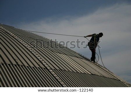 Climbing on a roof