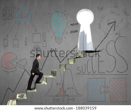 Climbing on money stairs with business concept doodles on concrete wall - stock photo