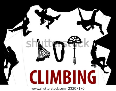 Climbing People silhouettes - stock photo