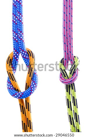 climbing rope isolated on white - stock photo