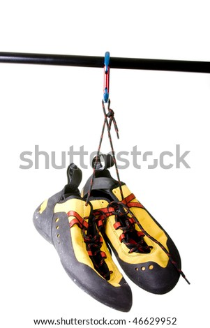 Climbing shoes isolated on white - stock photo