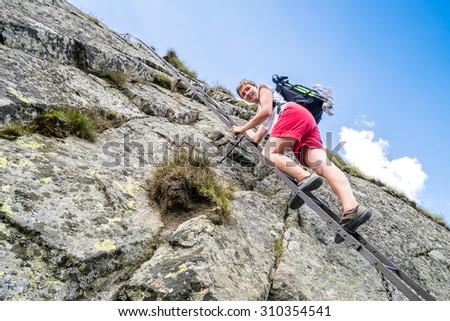 Climbing the mountains - stock photo