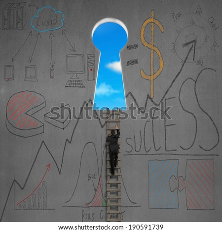 Climbing to key shape door with business doodles on concrete wall - stock photo
