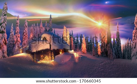 Climbing to tourist wild alpine mountain to an abandoned cabin-in order to illuminate the snow-covered spruce canopy during sunrise, sunset,  to see the first star of Christmas in the Carpathians. - stock photo