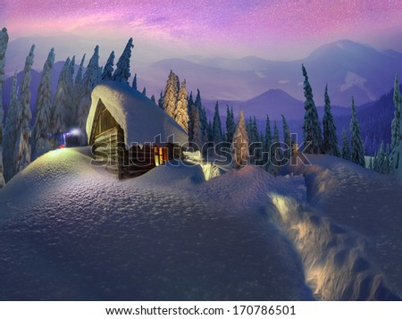 Climbing to tourist wild alpine mountain to an abandoned cabin-in order to illuminate the snow-covered spruce canopy during Sunrise, Sunset, to see the first star of Christmas in the Carpathians  - stock photo