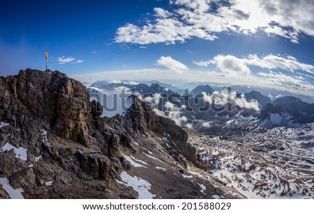 Climbing Zugspitze mountain in German Alps - stock photo