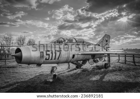 Clinceni, Romania, April 14, 2013 - MIG fighter plane exposed for visitors at the Clinceni airport. - stock photo