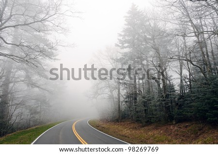 Clingman's Dome Road in the fog in the Smoky Mountains