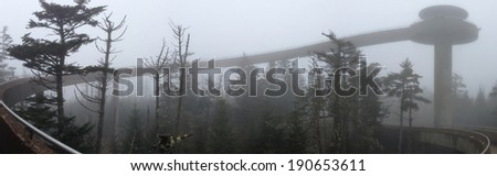 Clingman's Dome walkway in Great Smoky Mountains National Park - stock photo