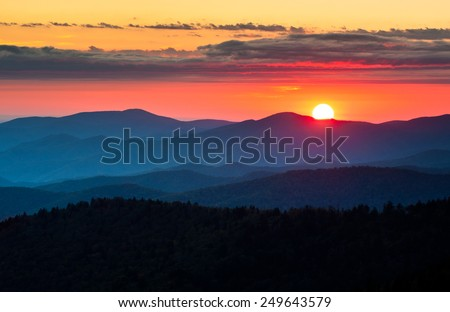 Clingmans Dome Great Smoky Mountains National Park Scenic Sunset Landscape photography between Cherokee NC and Gatlinburg TN - stock photo