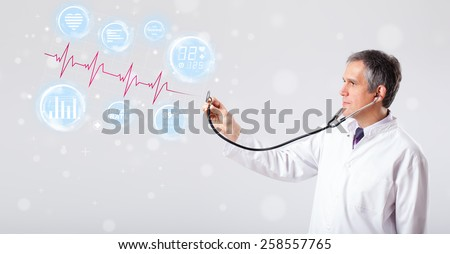 Clinical doctor examinating modern heartbeat graphics - stock photo