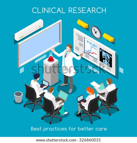 Clinical Research as Hospital Best Practice. Medical Researcher and Clinical Trials Translational Phase Study. Medical Staff Training. Investigator Meeting. NEW bright palette 3D Flat People JPG JPEG - stock photo