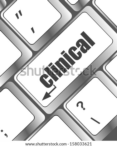 clinical text on laptop computer keyboard, raster - stock photo