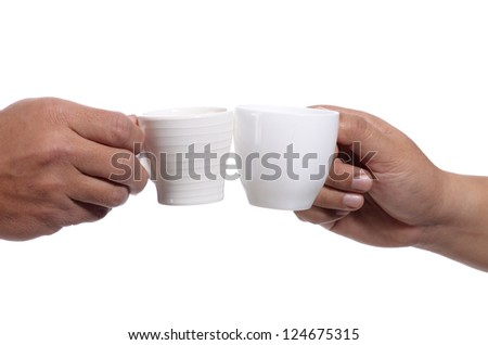Clink glasses a cup of coffee isolated  on the white - stock photo