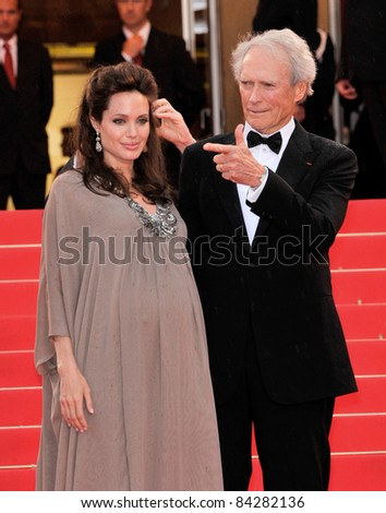 "Clint Eastwood & Angelina Jolie at the gala premiere of their new movie ""Changeling"" at the 61st Annual Cannes Film Festival. May 20, 2008  Cannes, France. Picture: Paul Smith / Featureflash"