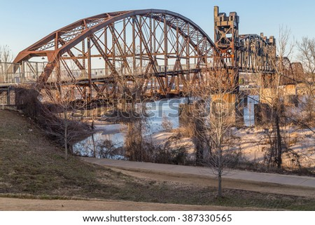 Clinton Presidential Park Bridge in Little Rock, Arkansas - stock photo