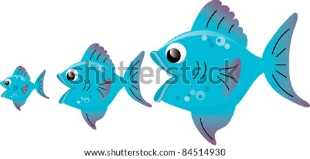 Clip art illustration of a big fish eating little fish. - stock photo