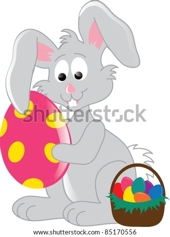 Clip art illustration of an Easter bunny, holding a big Easter egg, with an Easter basket filled with eggs.