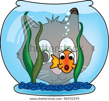 clip art illustration cat looking goldfish stock illustration rh shutterstock com fish bowl clipart black and white fish bowl clip art for kids
