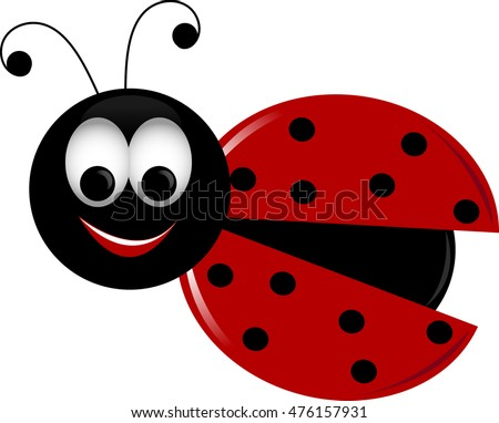 Clip art image of a cute ladybug with her wings open.