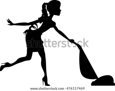Clip art image of a silhouette of a maid using a vacuum to clean the carpet.