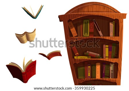 Clip Art Set: The Books and BookShelf isolated on White Background. Realistic Fantastic Cartoon Style Artwork Scene, Wallpaper, Game Story Background, Card Design  - stock photo
