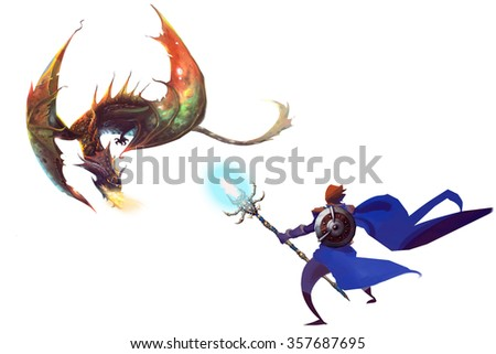 Clip Art: The Dragon and the Knight isolated on White Background. Realistic Fantastic Cartoon Style Artwork Scene, Wallpaper, Story Background, Card Design - stock photo