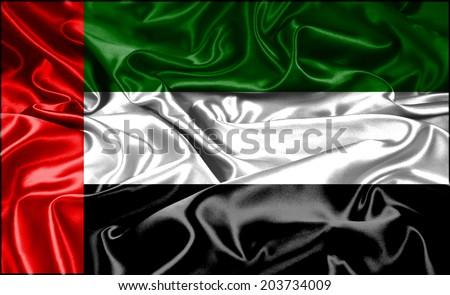 Clip Art Waving National Flag Of United Arab Emirates (UAE) - stock photo