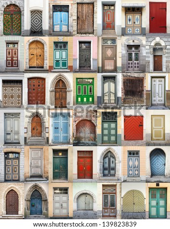 Clip-Art with big set of colorful wooden doors and gates from old town of Tallinn, Estonia - stock photo