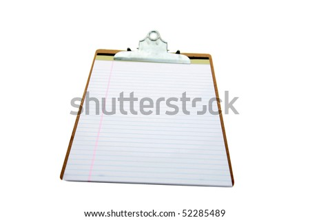 clip board and lined paper isolated on white - stock photo