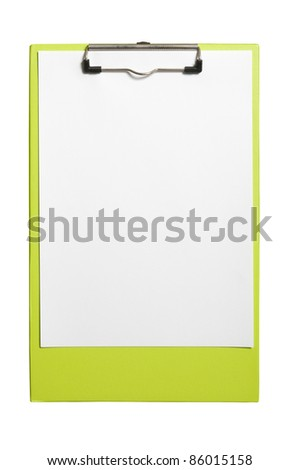 Clip board and paper isolated over white background. You can put your text on the paper