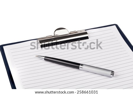 Clip board and pen on a white - stock photo